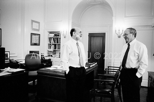 Washington DC<br /> District of Columbia<br /> March 17, 2008 <br /> <br /> Chairman and a member of the Board of Governors of the Federal Reserve System Ben Bernanke in his office with Donald L. Kohn, Federal Reserve Board Vice Chairman the morning after the Federal Reserve intervened to rescue troubled bank Bear Stearns, providing $30bn in emergency support and an interest rate cut.