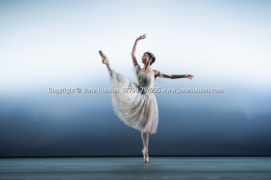 "London, UK. 19.05.2014. English National Ballet presents the final of EMERGING DANCER 2014, at the Lyceum Theatre in London's West End. Picture shows: Senri Kou and Vitor Menezes in ""La Sylphide"". Photograph © Jane Hobson."