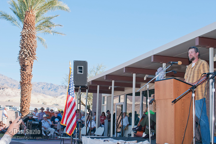 Scott Smith of the Death Valley Conservancy addresses the audience at the Grand Re-Opening of the Furnace Creek Visitor Center in Death Valley National Park, California, on November 4, 2012.