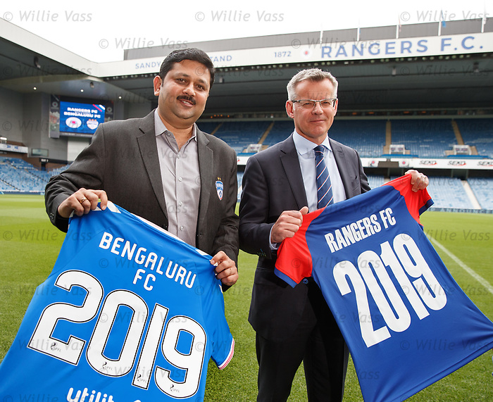 27.09.2018 Rangers FC announce a partnership with Indian professional club Bengaluru FC. Rangers managing director Stewart Robertson is joined by  Mandar Tamhane the CEO of Bengaluru FC