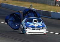 Aug. 1, 2014; Kent, WA, USA; NHRA pro stock driver Matt Hartford during qualifying for the Northwest Nationals at Pacific Raceways. Mandatory Credit: Mark J. Rebilas-