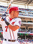 25 July 2013: Washington Nationals outfielder Scott Hairston stands on deck during a game against the Pittsburgh Pirates at Nationals Park in Washington, DC. The Nationals salvaged the last game of their series, winning 9-7 ending their 6-game losing streak. Mandatory Credit: Ed Wolfstein Photo *** RAW (NEF) Image File Available ***