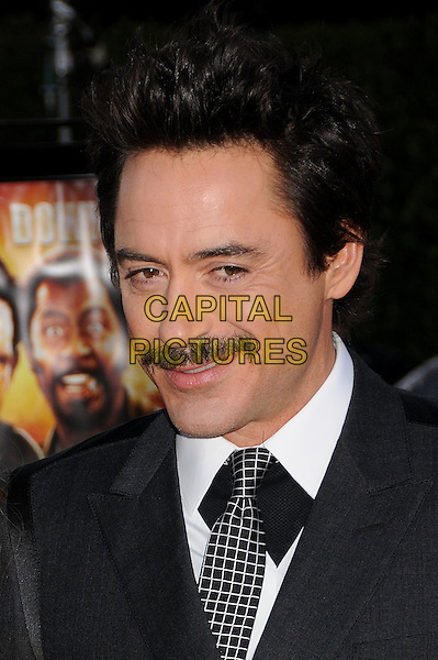 "ROBERT DOWNEY JR..""Tropic Thunder"" Los Angeles Premiere at Mann's Village Theatre, Westwood, California, USA. .August 11th, 2008 .headshot portrait moustache mustache facial hair funny face.CAP/ADM/BP.©Byron Purvis/AdMedia/Capital Pictures."