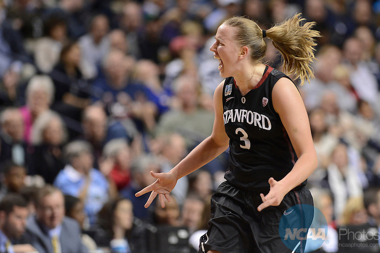 06 Apr 2014:  Stanford University forward Mikaela Ruef (3) celebrates during the 2014 Division I Women's Final Four in Nashville, TN. Connecticut defeated Stanford 75-56 to move on to the National Championship.  Jamie Schwaberow/NCAA Photos