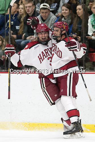 Brian Hart (Harvard - 39), Tommy O'Regan (Harvard - 21) - The Harvard University Crimson defeated the visiting Bentley University Falcons 3-0 on Saturday, October 26, 2013, in Harvard's season opener at Bright-Landry Hockey Center in Cambridge, Massachusetts.