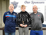 Ardee Celtic's U-14 player of the year James Rogers with coaches John O'Callaghan and Fergal Kellitt. Photo:Colin Bell/pressphotos.ie