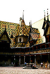 France: The famous medieval hospital, Hotel-Dieu, Beaune, Burgundy. .Photo Copyright Lee Foster, 510/549-2202, lee@fostertravel.com, www.fostertravel.com...Photo #: frburg104