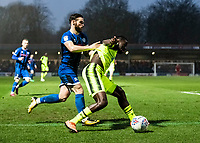 Bolton Wanderers' Josh Emmanuel competing with Rochdale's Jimmy Ryan (left) <br /> <br /> Photographer Andrew Kearns/CameraSport<br /> <br /> The EFL Sky Bet League One - Rochdale v Bolton Wanderers - Saturday 11th January 2020 - Spotland Stadium - Rochdale<br /> <br /> World Copyright © 2020 CameraSport. All rights reserved. 43 Linden Ave. Countesthorpe. Leicester. England. LE8 5PG - Tel: +44 (0) 116 277 4147 - admin@camerasport.com - www.camerasport.com