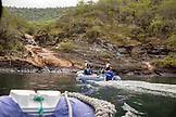 GALAPAGOS ISLANDS, ECUADOR, Tangus Cove, boats entering into the cove from the M/C Ocean Spray