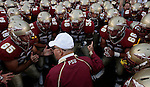 Florida State head coach Bobby Bowden gets his team ready to play the Miami Hurricanes prior to the first half of University of Miami Hurricane's 38-34 defeat of the Florida State Seminoles in Tallahassee September 7, 2009.  (Mark Wallheiser/TallahasseeStock.com)