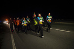 "People run on the 20th Korrika. castejon. (Basque Country). March 31, 2017. The ""Korrika"" is a relay course, with a wooden baton that passes from hand to hand without interruption, organised every two years in a bid to promote the basque language. The Korrika runs over 11 days and 10 nights, crossing many Basque villages and cities. This year was the 20th edition and run more than 2500 Kilometres. Some people consider it an honour to carry the baton with the symbol of the Basques, ""buying"" kilometres to support Basque language teaching. (Gari Garaialde / Bostok Photo)"