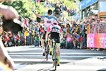 Tim Wellens (BEL) Lotto-Soudal powers towards the finish line to win Stage 4 from Michael Woods (CAN) EF-Drapac-Cannondale, a 202km very hilly stage running from Catania to Caltagirone, Sicily, Italy. 8th May 2018.<br /> Picture: LaPresse/Gian Mattia D'Alberto | Cyclefile<br /> <br /> <br /> All photos usage must carry mandatory copyright credit (&copy; Cyclefile | LaPresse/Gian Mattia D'Alberto)