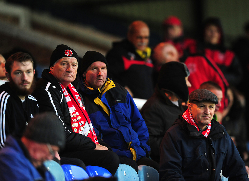 Fleetwood Town fans during the pre-match warm-up <br /> <br /> Photographer Chris Vaughan/CameraSport<br /> <br /> Football - The Football League Sky Bet League One - Peterborough United v Fleetwood Town - Saturday 14th November 2015 - ABAX Stadium - Peterborough<br /> <br /> &copy; CameraSport - 43 Linden Ave. Countesthorpe. Leicester. England. LE8 5PG - Tel: +44 (0) 116 277 4147 - admin@camerasport.com - www.camerasport.com