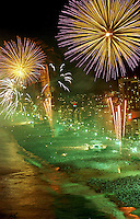 Fireworks explode over millions of people on Copacabana beach in celebration of the new year in Rio de Janeiro.(AustralFoto/Douglas Engle)