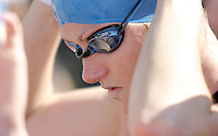 05 AUG 2007 - LONDON, UK - Jodie Swallow prepares for the start of her race - London Triathlon. (PHOTO (C) NIGEL FARROW)
