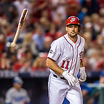 13 October 2016: Washington Nationals first baseman Ryan Zimmerman flips his bat when walked in the 2nd inning of the NLDS Game 5 against the Los Angeles Dodgers at Nationals Park in Washington, DC. The Dodgers edged out the Nationals 4-3, to take Game 5, and the Series, 3 games to 2, moving on to the National League Championship against the Chicago Cubs. Mandatory Credit: Ed Wolfstein Photo *** RAW (NEF) Image File Available ***