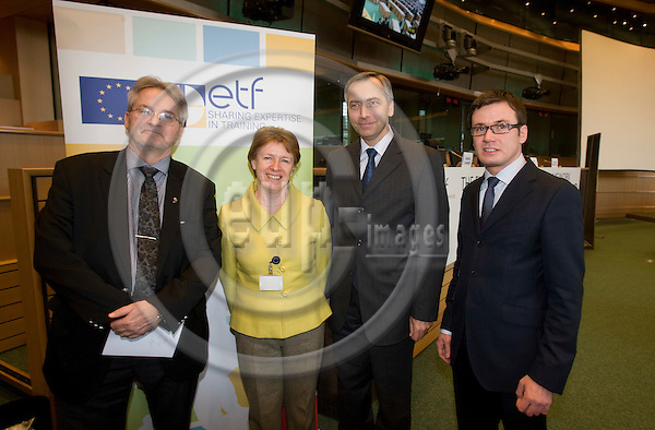 BRUSSELS - BELGIUM - 29 JANUARY 2009 --  International conference in The European Parliament on THE EUROPEAN QUALIFICATIONS FRAMEWORK - LINKING TO A GLOBALISED WORLD -- From left MEP Jan ANDERSSON, Chair of the Employment and Social Affairs Committee of the European Parliament, Muriel DUNBAR, Director, European Training Foundation, Jan FIGEL, Commissioner for Education, Training, Culture and Youth and Ondrej LISKA, Minister of Education, Youth and Sports of the Czech Republic.  Photo: Erik Luntang/EUP-IMAGES