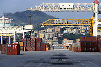 - Genoa, ILVA steel factory and containers terminal....- Genova, acciaieria ILVA e terminal containers