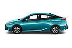 Car Driver side profile view of a 2019 Toyota Prius-Prime Plus 5 Door Hatchback Side View