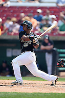Kane County Cougars outfielder Jeffrey Baez (33) at bat during a game against the Quad Cities River Bandits on August 20, 2014 at Third Bank Ballpark in Geneva, Illinois.  Kane County defeated Burlington 7-3.  (Mike Janes/Four Seam Images)