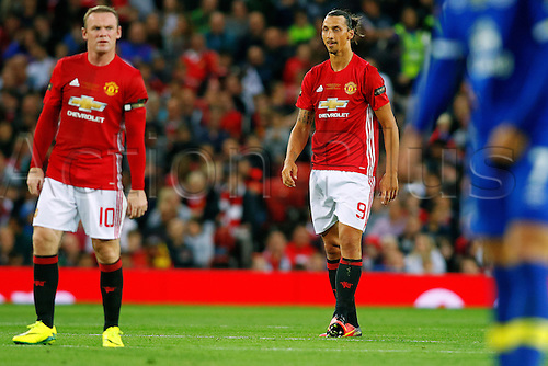 03.08.2016. Old Trafford, Manchester, England. Wayne Rooney Testimonial Football Match. Manchester United versus Everton. United strikers Zlatan Ibrahimovic and Wayne Rooney of Manchester United watch the play