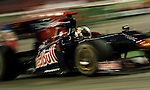 27 Sept 2009, Singapore --- Scuderia Toro Rosso driver Jaime Alguersuari of Spain steers his car during the Fia Formula One 2009 Singtel Singapore Grand Prix, the world's only street night race, at the Marina Bay street circuit. Photo by Victor Fraile --- Image by © Victor Fraile/Corbis