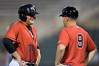 Kannapolis Intimidators manager Justin Jirschele (9) talks to Jake Burger (31) at third base during the game against the West Virginia Power at Kannapolis Intimidators Stadium on July 19, 2017 in Kannapolis, North Carolina.  The Power defeated the Intimidators 7-4 in 11 innings.  (Brian Westerholt/Four Seam Images)