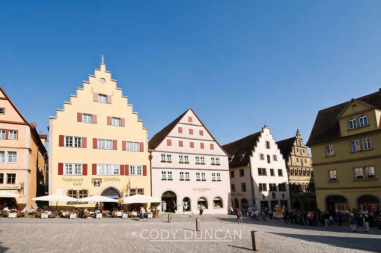 Colorful architecture of historic city center, Rothenburg ob der Tauber, Franconia, Bavaria, Germany