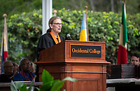 Susan H. Mallory '76 M'78, Board Chair<br /> Families, friends, faculty, staff and distinguished guests celebrate the class of 2019 during Occidental College's 137th Commencement ceremony on Sunday, May 19, 2019 in the Remsen Bird Hillside Theater.<br /> (Photo by Marc Campos, Occidental College Photographer)