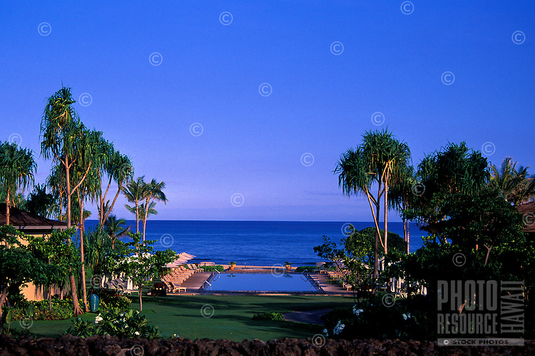 The beautiful infinity pool on the grounds of the Hualalai Resort, Big Island