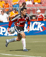 FC Dallas goalkeeper Dario Sala (48) rolls the ball.  Houston Dynamo beat FC Dallas 2-1 at Robertson Stadium in Houston, TX on June 3, 2007.