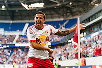 Tim Cahill (17) of the New York Red Bulls celebrates scoring during a Major League Soccer (MLS) match against Real Salt Lake at Red Bull Arena in Harrison, NJ, on July 26, 2013.