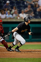 West Virginia Black Bears right fielder Brett Kinneman (5) follows through on a swing during a game against the State College Spikes on August 30, 2018 at Medlar Field at Lubrano Park in State College, Pennsylvania.  West Virginia defeated State College 5-3.  (Mike Janes/Four Seam Images)