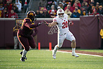 Wisconsin Badgers full back Austin Ramesh (20) carries the ball during an NCAA College Big Ten Conference football game against the Minnesota Golden Gophers Saturday, November 25, 2017, in Minneapolis, Minnesota. The Badgers won 31-0. (Photo by David Stluka)