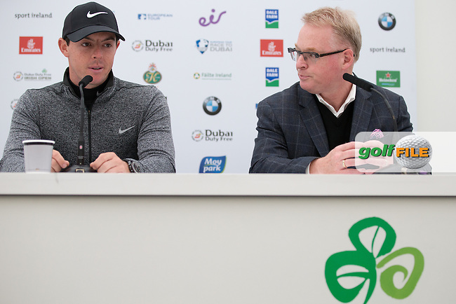 Rory McIlroy (NIR) is presented with The Harry Varden Trophy and the 2015 Player of the Year Shield by European Tour Chief Executive Keith Pelley, during Wednesday's Pro-Am ahead of the 2016 Dubai Duty Free Irish Open Hosted by The Rory Foundation which is played at the K Club Golf Resort, Straffan, Co. Kildare, Ireland. 18/05/2016. Picture Golffile | David Lloyd.<br /> <br /> All photo usage must display a mandatory copyright credit as: &copy; Golffile | David Lloyd.
