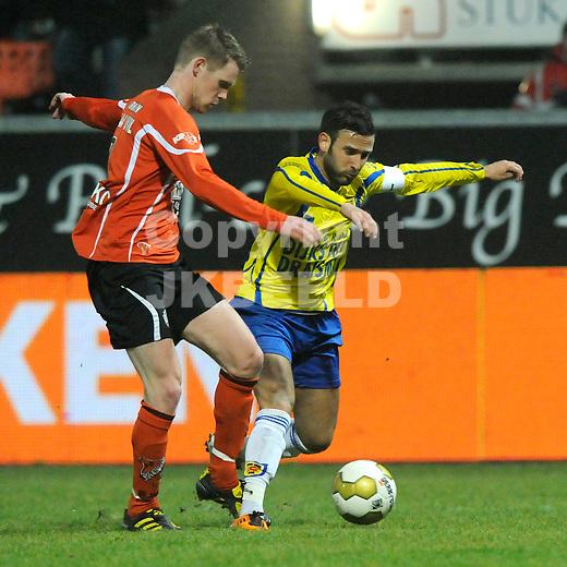 LEEUWARDEN - Voetbal, SC Cambuur - FC Volendam, Cambuur stadion, seizoen 2011-2012, 02-03-2012 Volendam speler Maikel van der Werff (l) met Oguzhan Turk
