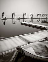 Vashon Island, Washington:<br /> foggy morning at Dockton Marina docks