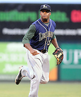 Infielder Delino DeShields Jr. (2) of the Lexington Legends, Class A affiliate of the Houston Astros, in a game against the Greenville Drive on August 5, 2011, at Fluor Field at the West End in Greenville, South Carolina. DeShields was a first-round pick (No. 8 overall) of the Astros in the 2010 First-Year Player Draft. (Tom Priddy/Four Seam Images)