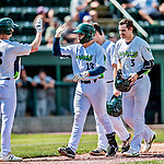 3 September 2018: Vermont Lake Monsters catcher Jose Rivas comes home to score after hitting a 3-run homer in the first inning to give the Lake Monsters an 8-0 lead against the Tri-City ValleyCats at Centennial Field in Burlington, Vermont. The Lake Monsters defeated the ValleyCats 9-6 in the last game of the 2018 NY Penn League regular season. Mandatory Credit: Ed Wolfstein Photo *** RAW (NEF) Image File Available ***