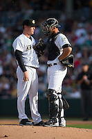 Charlotte Knights catcher Kevan Smith (32) has a chat with starting pitcher Shawn Haviland (28) during the game against the Chicago White Sox at BB&T Ballpark on April 3, 2015 in Charlotte, North Carolina.  The Knights defeated the White Sox 10-2.  (Brian Westerholt/Four Seam Images)