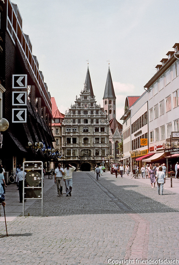Braunschweig: Looking down Poststrasse to Linen Hall  (Gewandhaus) which is late renaissance. Photo '87.