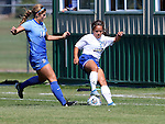 BROOKINGS, SD - SEPTEMBER 4:  Julia Lam #27 from South Dakota State controls the ball in front of Caeley Lordemann #14 from Creighton during their match Sunday afternoon at Fischback Soccer Complex in Brookings. (Photo by Dave Eggen/Inertia)