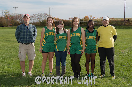 From left, CHS girls cross country coach Mark Allard, seniors Paige Tencati, Haley Gaughan, Madeleine Burke and Jasmine Mooloo, a captain, and assistant coach Eric Anderson.