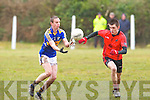 Cordal's Padraig Dignan and Gleneigh/Glencar's Sean Roche in action in the dvision 3 game at Cordal on Sunday.