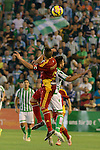 Corcoles (L) and Chuli (R) during the match between Real Betis and Recreativo de Huelva day 10 of the spanish Adelante League 2014-2015 014-2015 played at the Benito Villamarin stadium of Seville. (PHOTO: CARLOS BOUZA / BOUZA PRESS / ALTER PHOTOS)