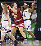 SIOUX FALLS, SD: MARCH 4: Leya DePriest #44 of Denver looks past defender Jasmine Patrick #21 of Western Illinois  on March 4, 2017 during the Summit League Basketball Championship at the Denny Sanford Premier Center in Sioux Falls, SD. (Photo by Dick Carlson/Inertia)