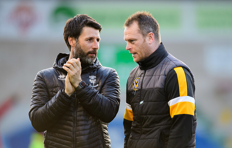 Lincoln City manager Danny Cowley, left, and Newport County manager Michael Flynn prior to the game<br /> <br /> Photographer Chris Vaughan/CameraSport<br /> <br /> The EFL Sky Bet League Two - Lincoln City v Newport County - Saturday 22nd December 201 - Sincil Bank - Lincoln<br /> <br /> World Copyright © 2018 CameraSport. All rights reserved. 43 Linden Ave. Countesthorpe. Leicester. England. LE8 5PG - Tel: +44 (0) 116 277 4147 - admin@camerasport.com - www.camerasport.com