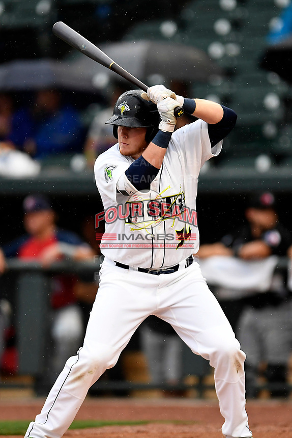 Dash Winningham (34) of the Columbia Fireflies from the South team bats at the South Atlantic League All-Star Game on Tuesday, June 20, 2017, at Spirit Communications Park in Columbia, South Carolina. The game was suspended due to rain after seven innings tied, 3-3. (Tom Priddy/Four Seam Images)