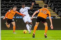 Tyler Reid of Swansea City in action during the Checkatrade 3rd round match between Swansea City U21's and Wolverhampton Wonderers U21's at the Liberty Stadium, Swansea on Tuesday January 10 2017