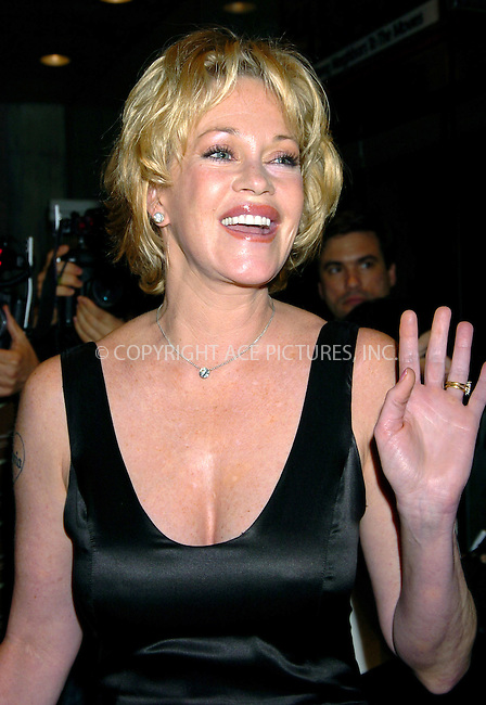 WWW.ACEPIXS.COM . . . . .  ....NEW YORK, MAY 17, 2004....Melanie Griffith attends the NYC screening of Shrek 2.....Please byline: AJ Sokalner - ACE PICTURES..... *** ***..Ace Pictures, Inc:  ..Alecsey Boldeskul (646) 267-6913 ..Philip Vaughan (646) 769-0430..e-mail: info@acepixs.com..web: http://www.acepixs.com